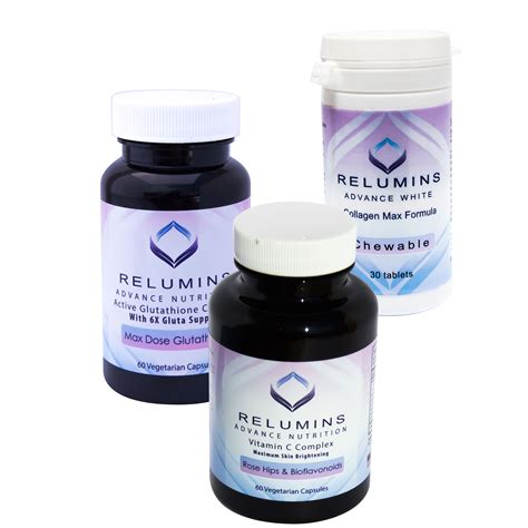 Glutathione Collagen relumins advanced white dermatologic set 1650mg
