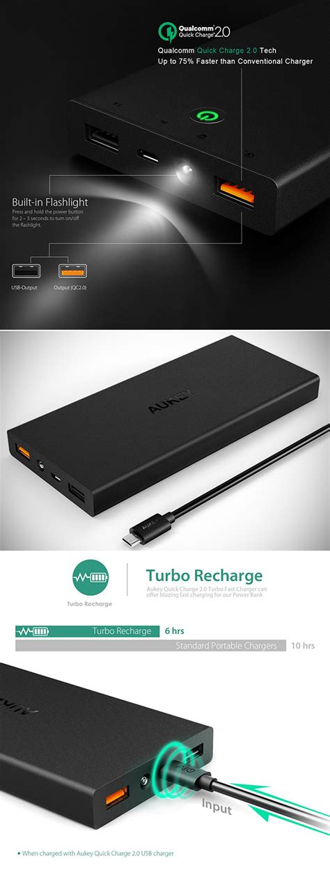 Powerbank Sony 15000mah Qwerty Technology aukey s 15000mah portable power bank is qualcomm charge 2 0 certified get one for