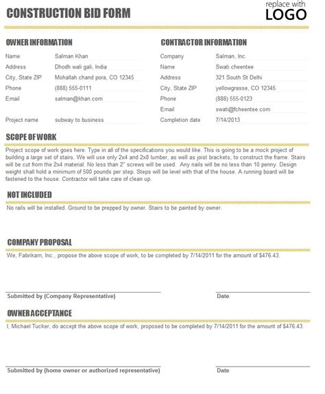 bid proposal template sles autos weblog
