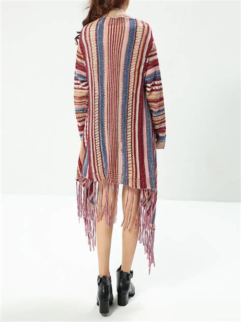 Striped Sweater Cardigan ethnic colorful striped sleeve tassel sweater