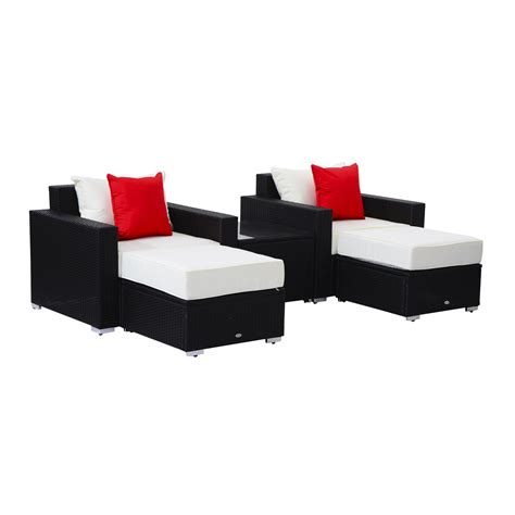Outsunny 13pc aluminum patio rattan set wicker sofa seat outdoor furniture with cushion pillow