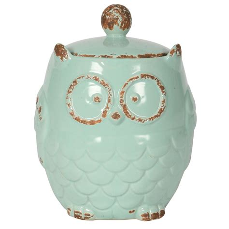 owl canisters small blue owl canister metrostyle owls pinterest