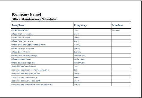 maintenance schedule template office maintenance schedule template ms excel excel