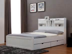 lit mederick avec rangements 140x190 pin blanc ou miel