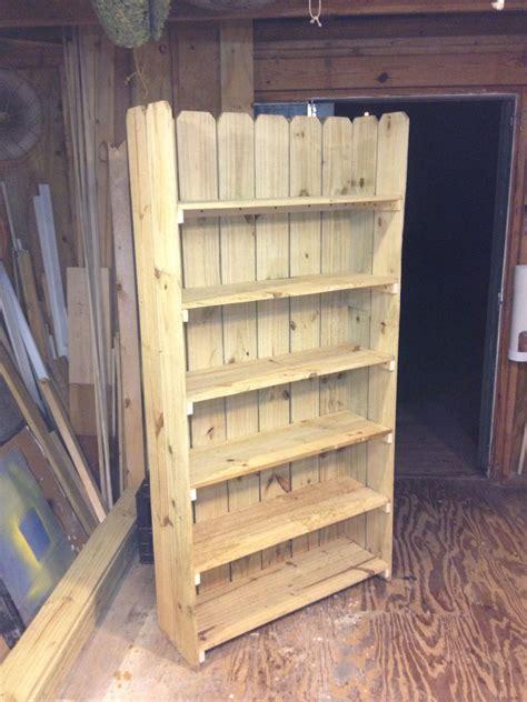 bookshelf   leftover fence boards