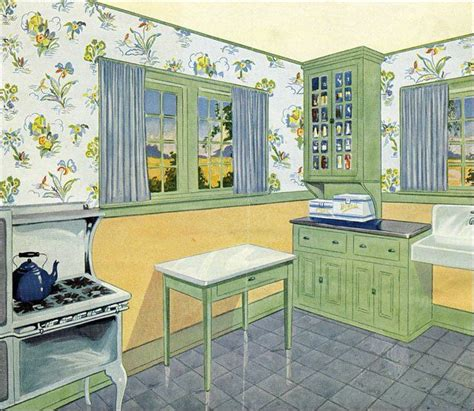 blue and green kitchen 1929 green yellow and blue kitchen vintage kitchen