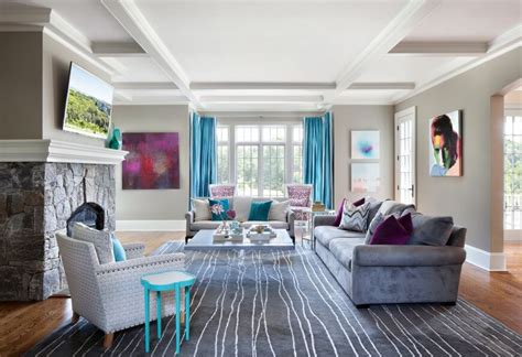turquoise living room decor home design gray roomgray elegant and contemporary home in bold color by clean design