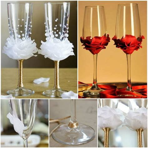 Flower To Decorate A Wedding by Diy Flower Bead Decorated Wine Glasses Decorated Wine