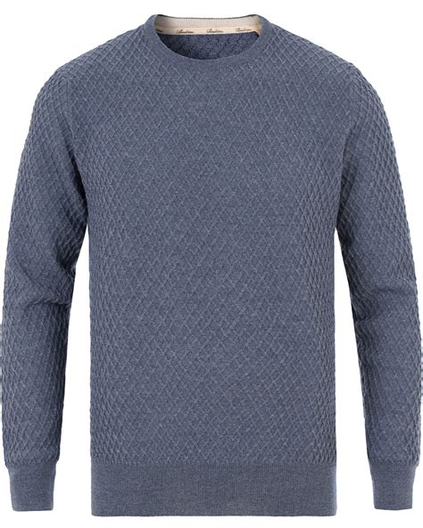 waffle knit crew stenstr 246 ms knitted waffle weave crew neck blue hos