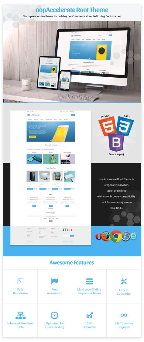 bootstrap themes for nopcommerce nopaccelerate root theme free responisve default theme