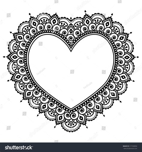 heart mehndi design indian henna tattoo stock vector