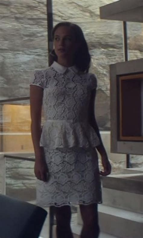 ex machina length karen millen lace top skirt seen with ava played by