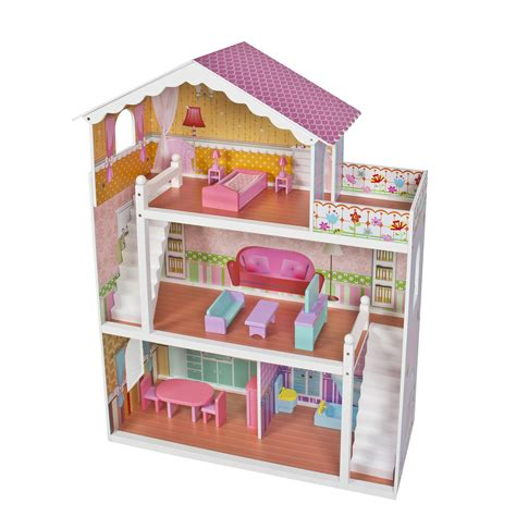 Large Children S Wooden Dollhouse Fits Barbie Doll House Pink With Furniture Ebay