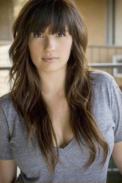 hairstyle with a few bangs the gallery for gt choppy layered long hair side bangs