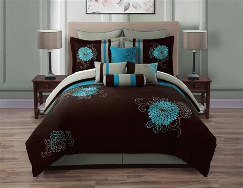teal brown bedroom 10 piece queen josephine chocolate and teal comforter set