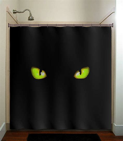 curtain in vision green eyes cat shower curtain bathroom from tablishedworks on
