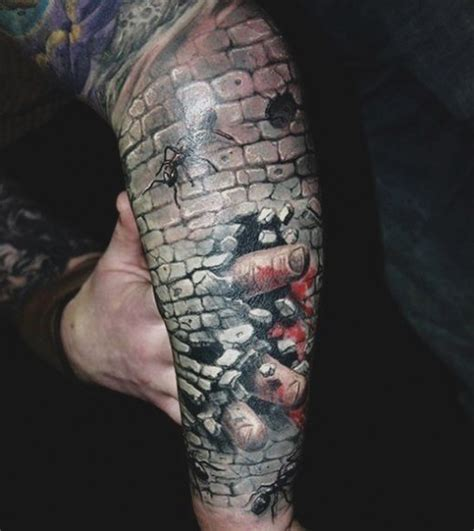 realism style detailed arm tattoo of stone wall with