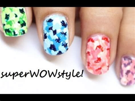 easy nail art without tools colorful camouflage no tools toothpick nails youtube