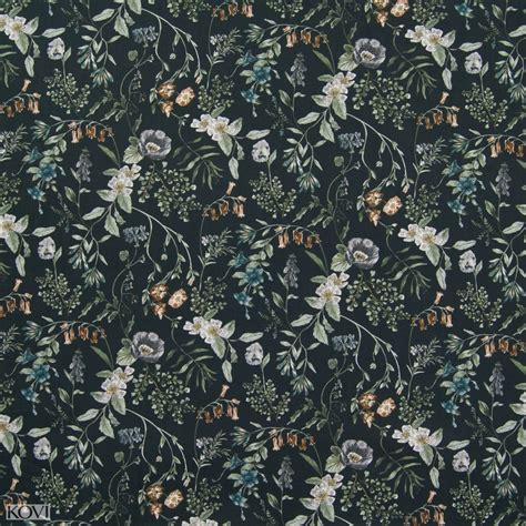 Ebony Black Floral Print Drapery And Upholstery Fabric