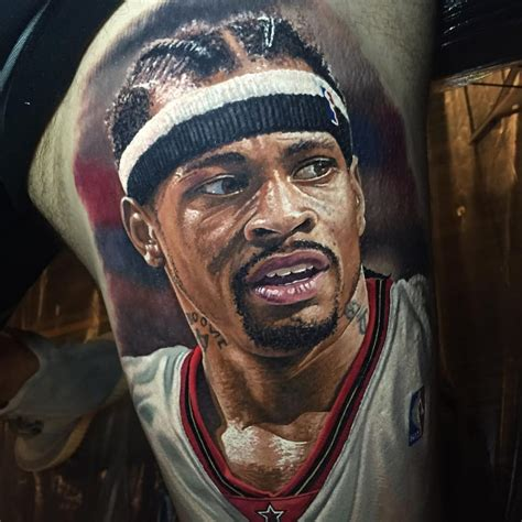 allen iverson tattoo steve butcher s realistic sports portraits tattoodo
