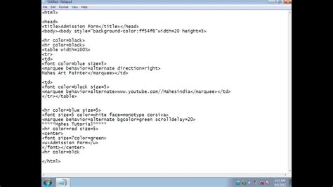 how to create admission form using html code part 1 form