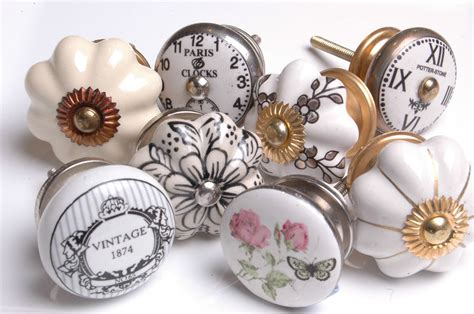 vintage style antique finished ceramic cupboard knobs