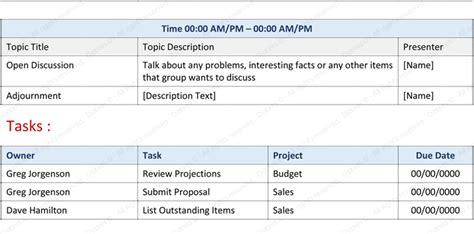 staff meeting agenda template write  effective agenda
