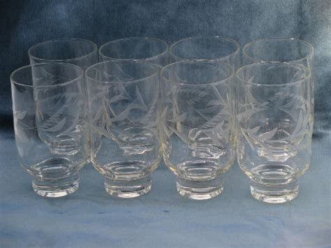 Modern Bar Glassware Scandinavian Modern Vintage Etched Glassware 8 Large