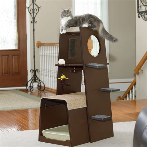 stylish cat tree pet products modular modern cat tower 416819 sauder