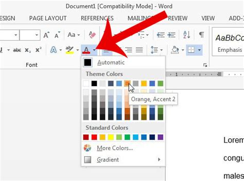 how to change font color how to change the font color in a word 2013 table solve