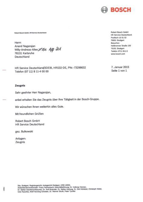 Anschreiben Englisch Starting Date Bosch Gmbh Praktikum Zeugnis