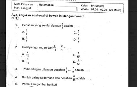 soal ulangan matematika kelas  semester