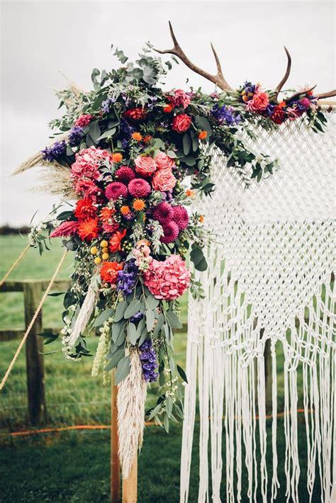 wedding arch flowers arrangements gallery colourful boho macrame wedding arch backdrop