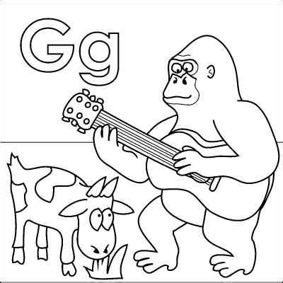 preschool coloring pages letter g letter g coloring page gorilla goat guitar grass from