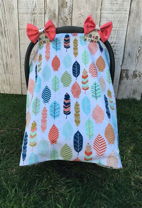 Handmade Car Seat Canopy - custom baby car seat cover set boho chic car seat