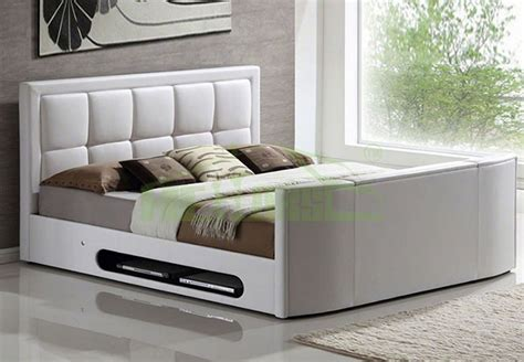 Bed Frame With Tv In Footboard by Modern King Size Leather Bed With Tv In Footboard Tv Bed