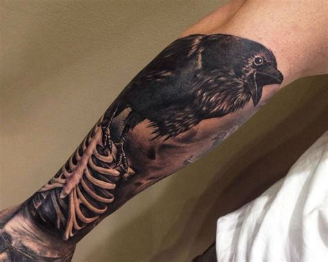 4 black crow tattoos ideas