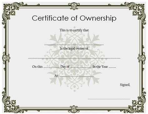 ownership certificate templates editable  official