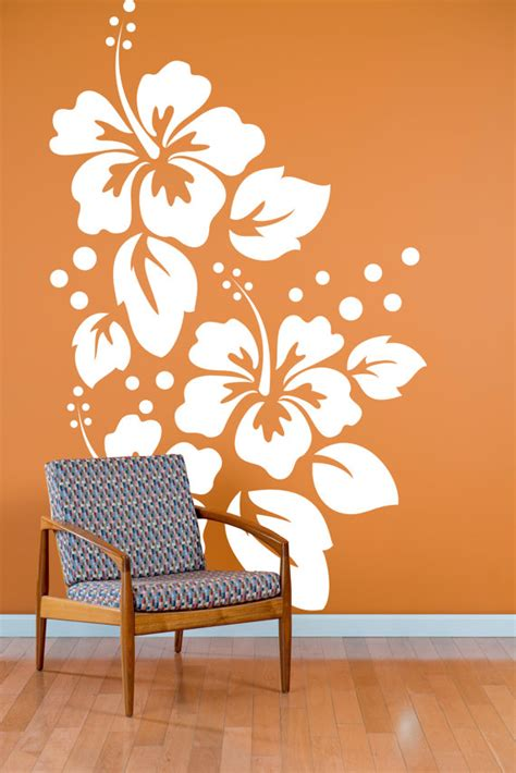 pattern wall decals large hibiscus flowers pattern wall decal custom vinyl art