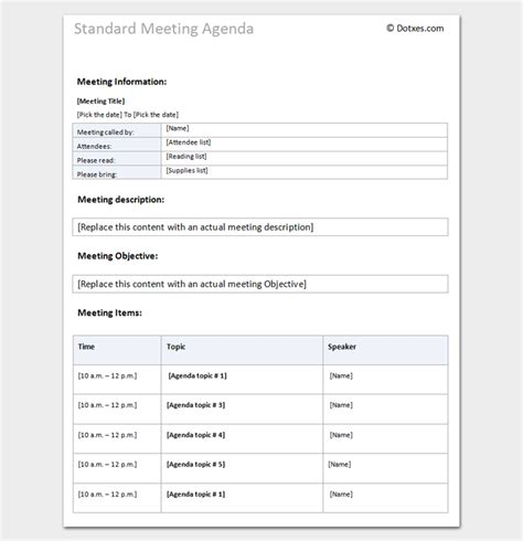 agenda outline template 10 for word excel pdf format