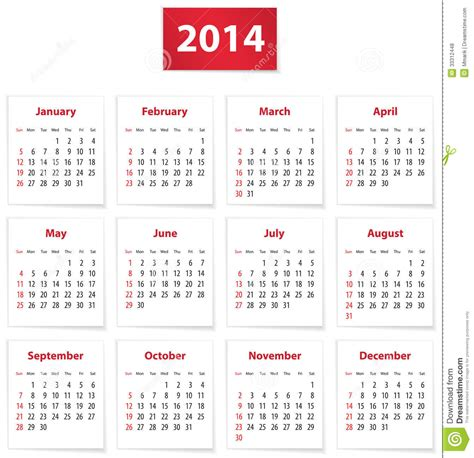 A Calendario En Inglés Calend 225 2014 Fotos De Stock Royalty Free Imagem 33312448