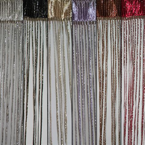 silver fringe curtain fringe string panel curtain w silver strip room divider