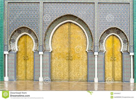 doors of the royal palace doors of the royal palace in fes morocco royalty free