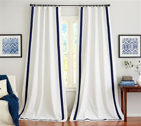 White Curtains With Navy Trim Ideas Pottery Barn Room Designer White Grommet Curtain Panels White Panel Curtains With Navy Trim