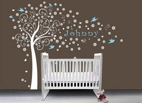 Baby Nursery Wall Decals Tree Nursery Baby Boy Tree Wall Decal Wall Sticker Baby Name Decal On Etsy 78 00 Baby
