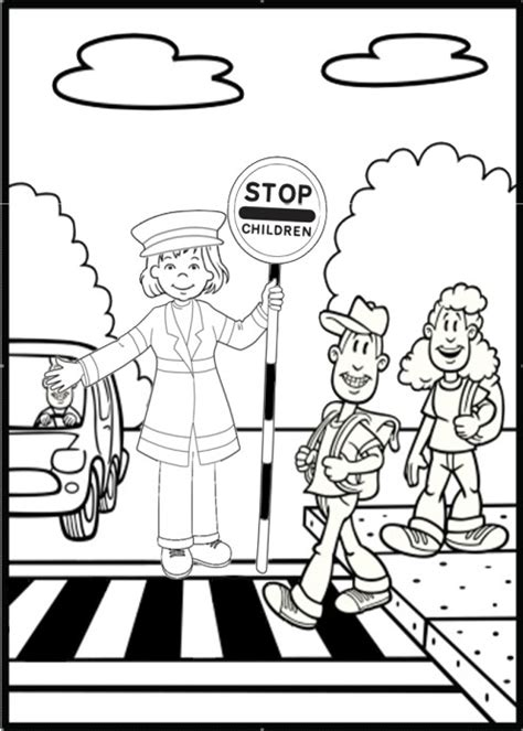olivia road safety colouring page pinteres