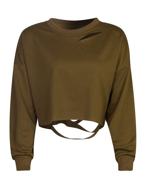 Cropped Sweatshirt ripped drop shoulder cropped sweatshirt choies