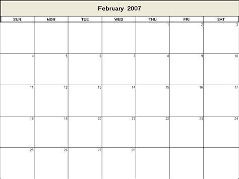 February 2007 Calendar February 2007 Printable Blank Calendar