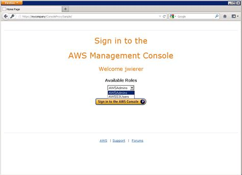 aws console url aws management console federation proxy sle use