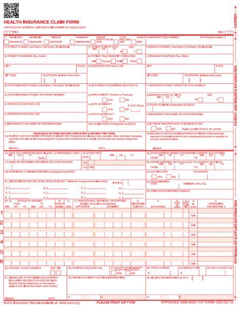 free cms 1500 claim form template 28 new hcfa 1500 claim form 2014 hcfa claim form